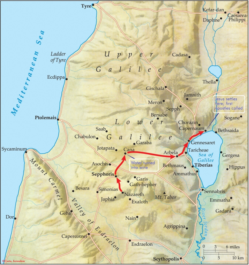 Sea of Galilee map Nazareth to Capernaum