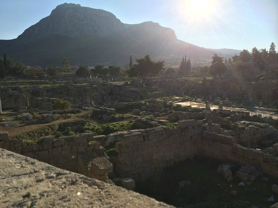 Ancient Corinth sun rays