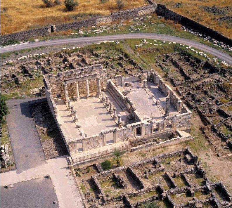 Capernaum Synagogue sky view 2