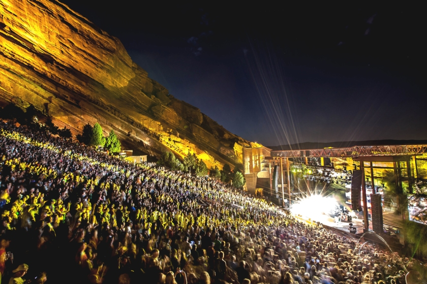 Red Rocks at night