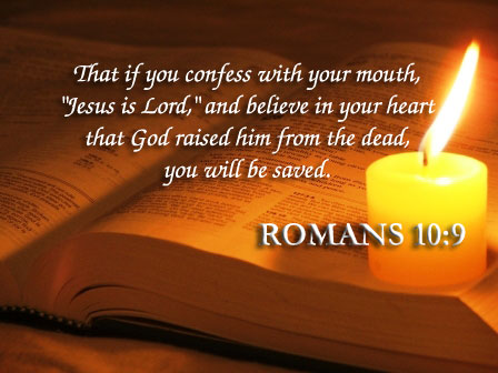 Romans 10 v 9 candle