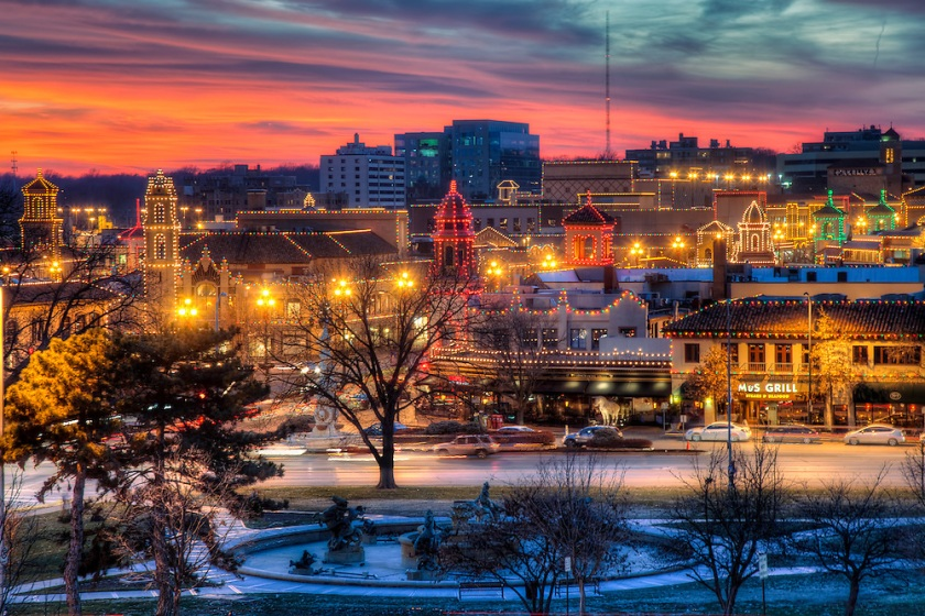 Kansas City's Plaza Lights at Sunset