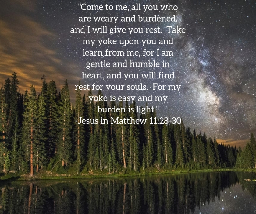 Pic quote Matthew 11 v 28 stars
