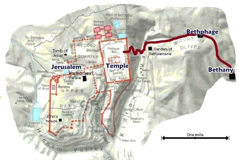 Bible map Bethany to Jerusalem
