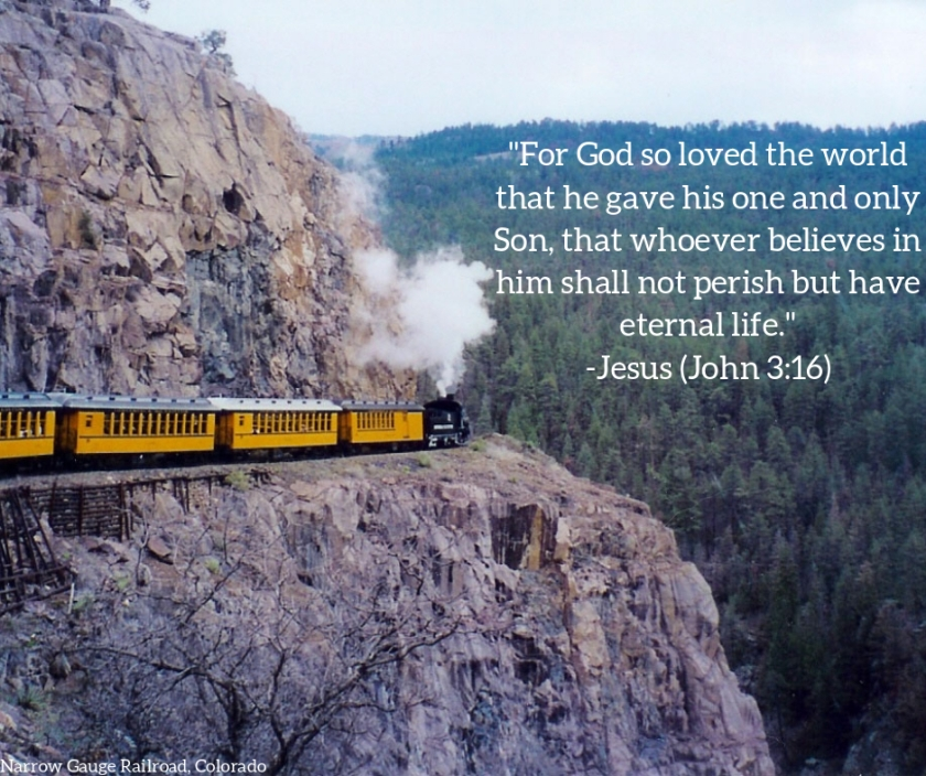 Pic quote John 3 v 16 train