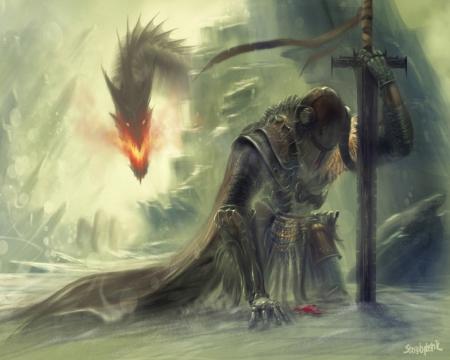 Knight on knees