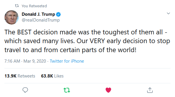 Screenshot_2020-03-09 (2) Donald J Trump on Twitter The BEST decision made was the toughest of them all - which saved many [...]