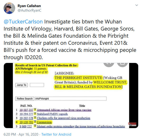 Screenshot_2020-04-18 Ryan Callahan on Twitter TuckerCarlson Investigate ties btwn the Wuhan Institute of Virology, Harvard[...]